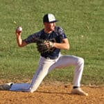 Justin Bosland at Short Stop Turning a Double Play